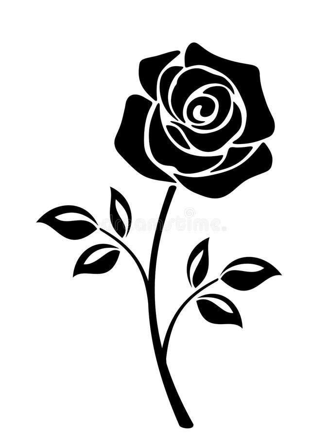Zwart silhouet van een roze bloem Vector graphhics stock illustratie