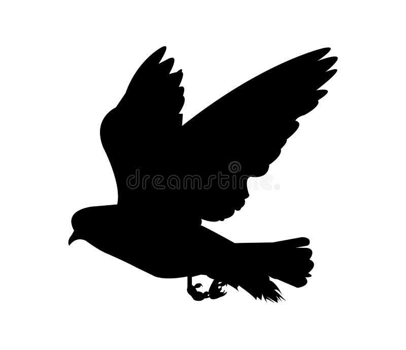 Zwart silhouet van een vogel op wit vector illustratie