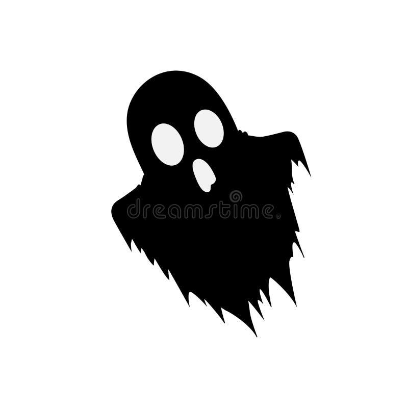Zwart silhouet van eng die spook op witte achtergrond wordt geïsoleerd vector illustratie