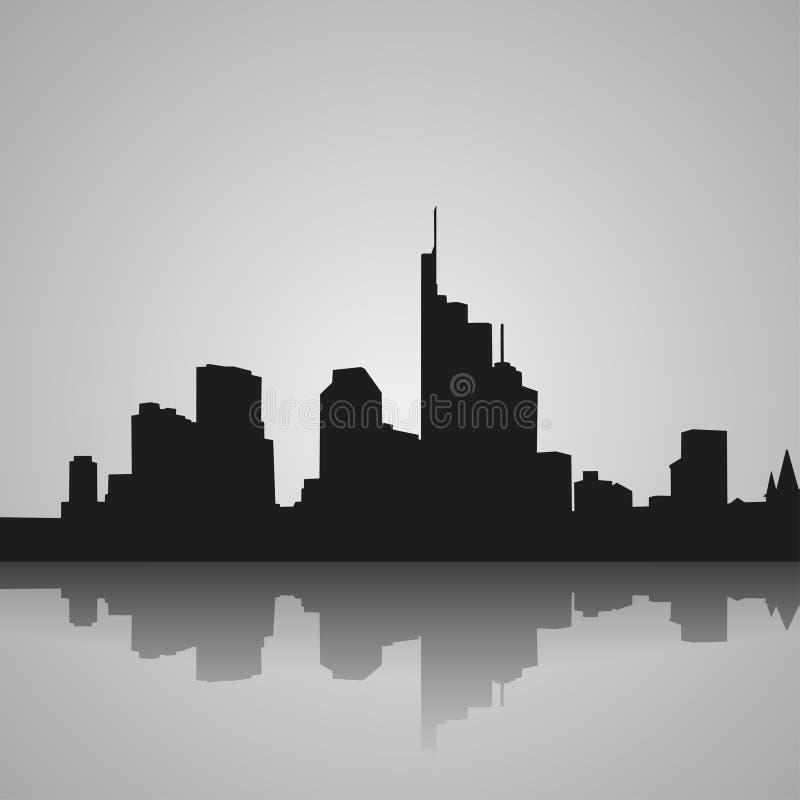Zwart silhouet van Frankfurt met bezinning Vector illustratie vector illustratie
