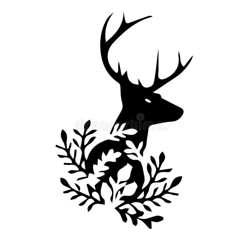 Zwart silhouet van hertenhoofd, op witte achtergrond vector illustratie