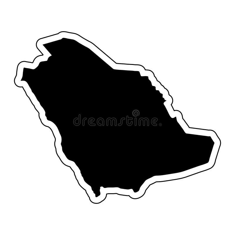 Zwart silhouet van het land Saudi-Arabië met contourli stock illustratie