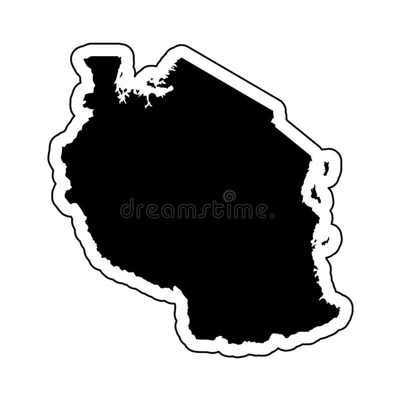 Zwart silhouet van het land Tanzania met de contourlijn o vector illustratie