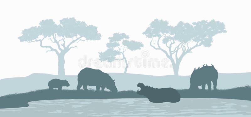 Zwart silhouet van nijlpaardfamilie Scène met hippos Landschap van wilde Afrikaanse dieren Savannepanorama royalty-vrije illustratie