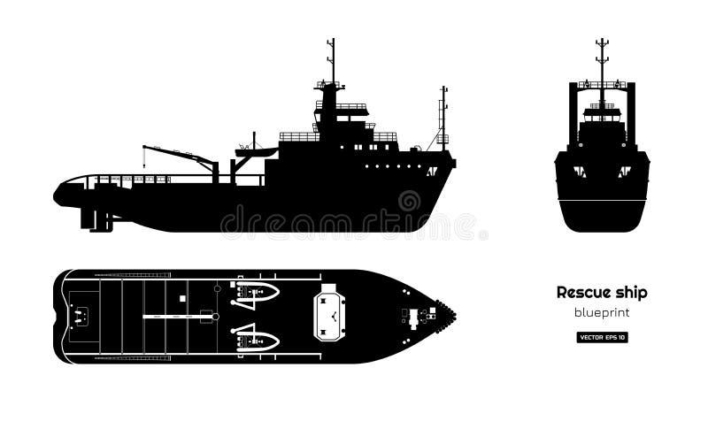 Zwart silhouet van reddingsschip Hoogste, zij en vooraanzicht De industrieblauwdruk Geïsoleerde tekening van boot vector illustratie