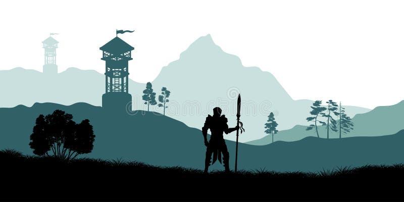 Zwart silhouet van ridder op achtergrond van schutterstoren Het landschap van de fantasie Médiéval panorama Slagwatchtower stock illustratie
