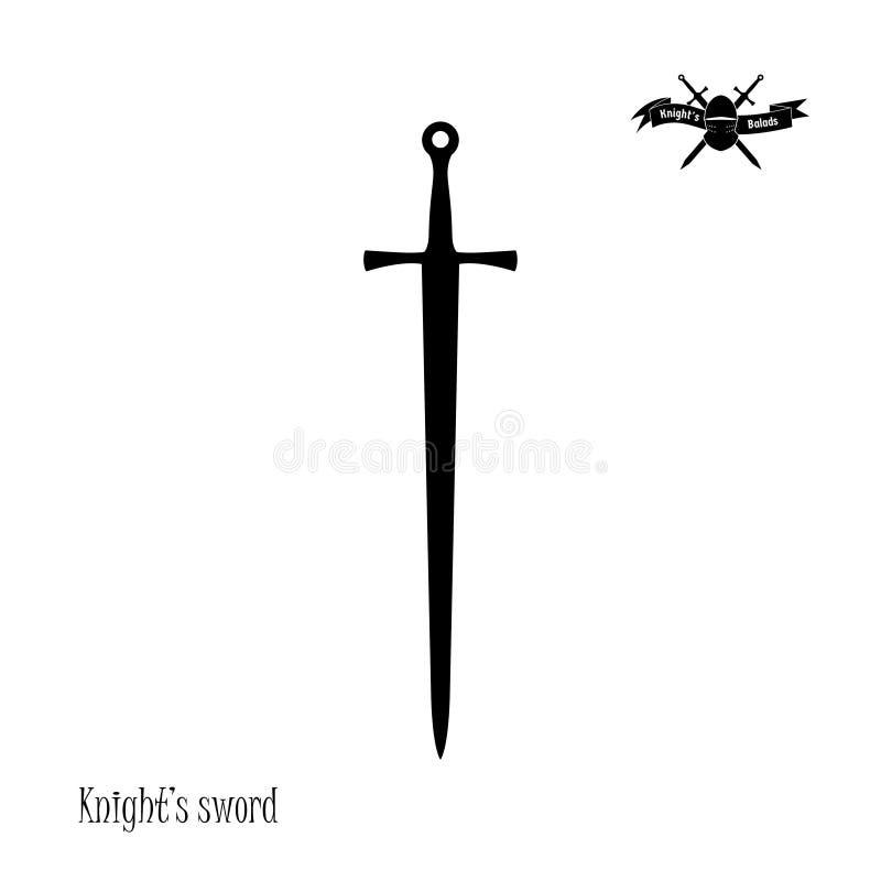 Zwart silhouet van ridder` s zwaard op witte achtergrond Pictogram van fantasiefalchion stock illustratie