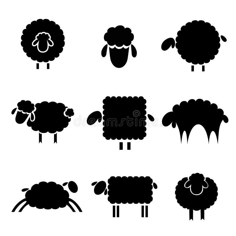 Zwart silhouet van sheeps royalty-vrije illustratie