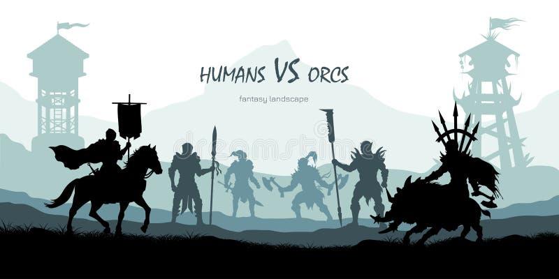 Zwart silhouet van slagorka's en mensen Het landschap van de fantasie Middeleeuws 2d panorama Ridders en strijders die scène best royalty-vrije illustratie