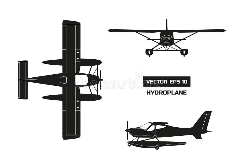 Zwart silhouet van vliegtuig op witte achtergrond Industriële tekening van hydroplane Hoogste, voor en zijaanzicht vector illustratie