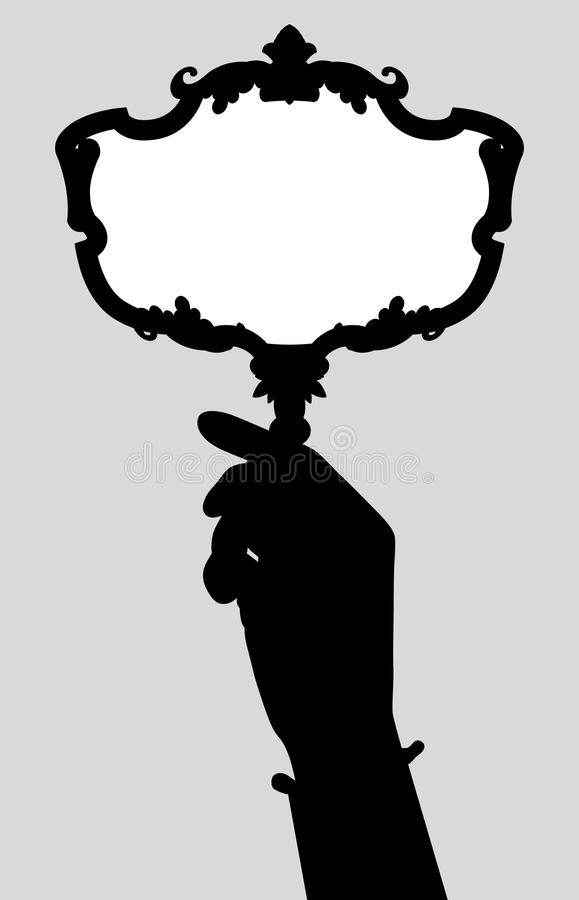 Zwart silhouet van vrouwen` s hand met een retro spiegel royalty-vrije illustratie