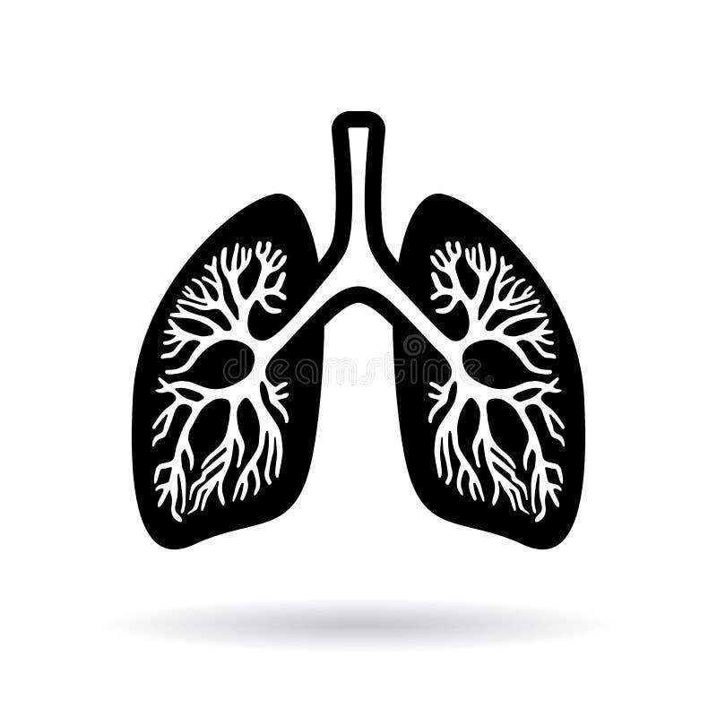 Zwart silhouetpictogram van menselijke longen stock illustratie