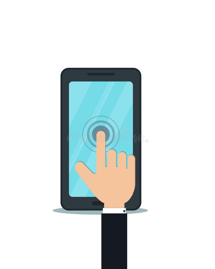 Zwart smartphone vectorontwerp met hand wat betreft het lege scherm stock illustratie