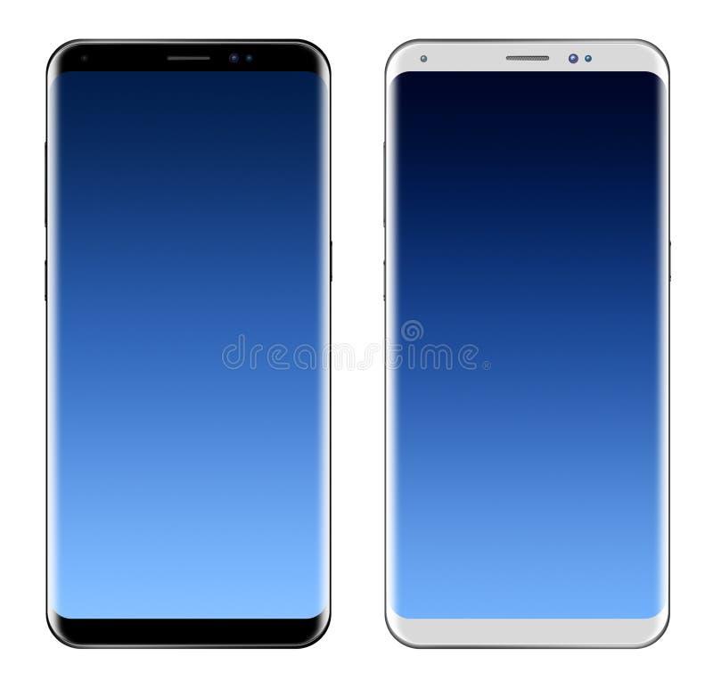 Zwart Smartphone & Wit Smartphone met het grote scherm royalty-vrije illustratie