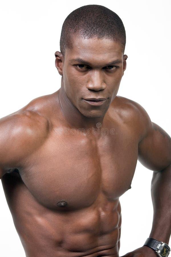 Zwart sportmanportret stock afbeelding