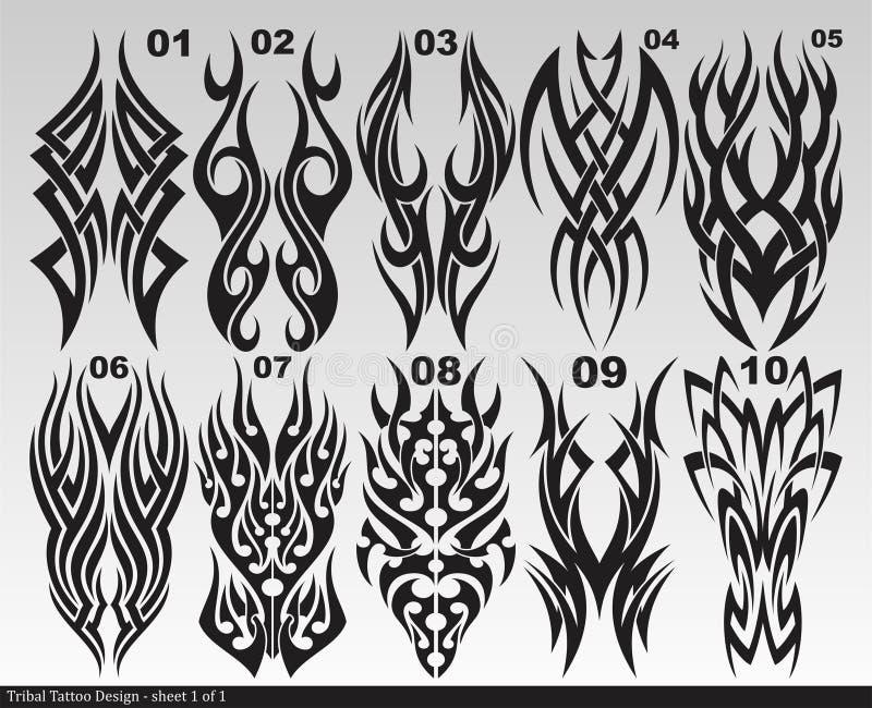 Zwart Stammenblad 001-010 van het tatoegeringsontwerp royalty-vrije stock foto