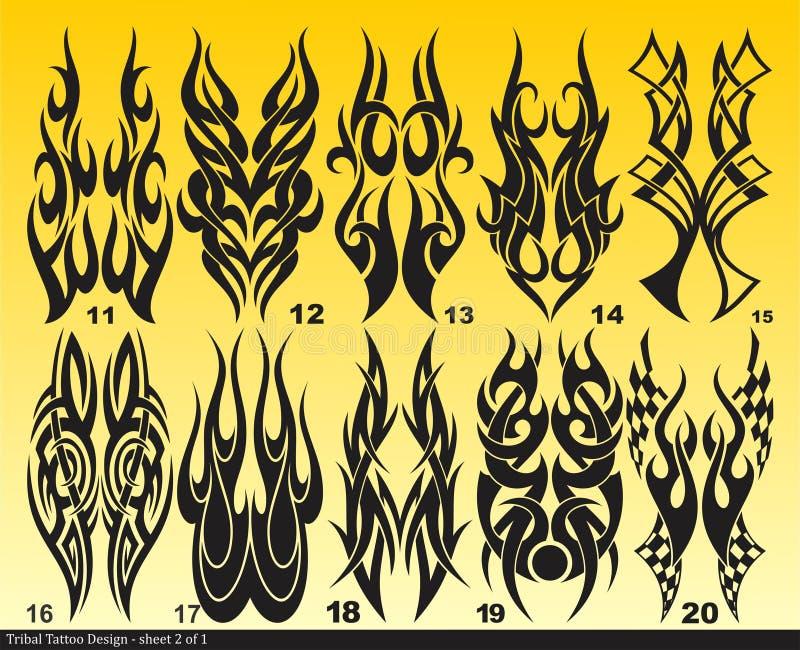 Zwart Stammenblad 011-020 van het tatoegeringsontwerp royalty-vrije stock foto