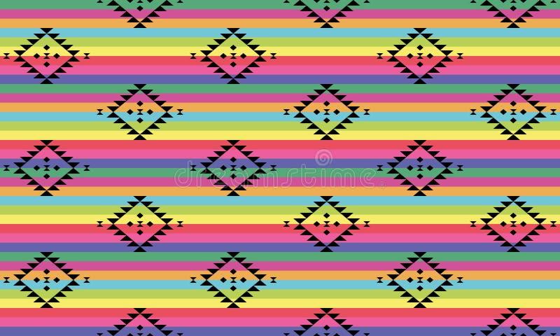 Zwart stammenpatroon op helder gekleurde strepen vector illustratie