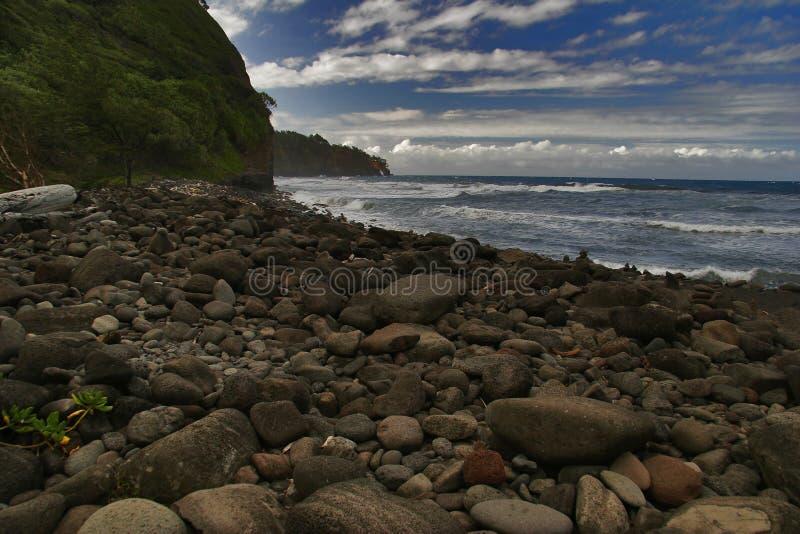 Zwart stenenstrand van Hawaï stock foto