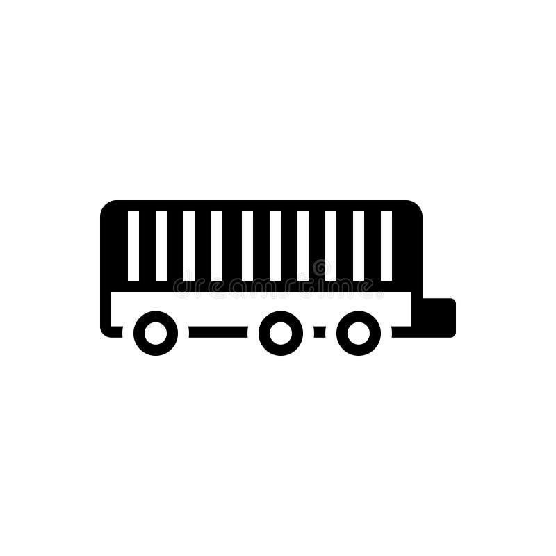 Zwart stevig pictogram voor Aanhangwagen, vrachtwagen en vrachtwagenchauffeur royalty-vrije illustratie
