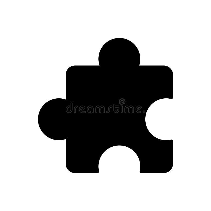 Zwart stevig pictogram voor Add ons, plugin en uitbreiding stock illustratie