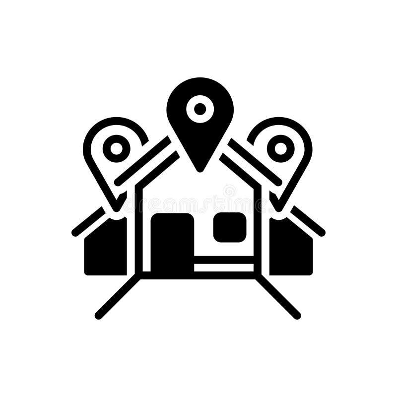 Zwart stevig pictogram voor Adres, plaats en scène vector illustratie