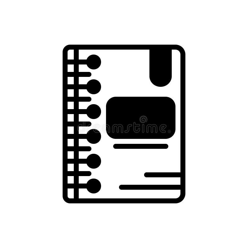 Zwart stevig pictogram voor Agenda, programma en programma royalty-vrije illustratie
