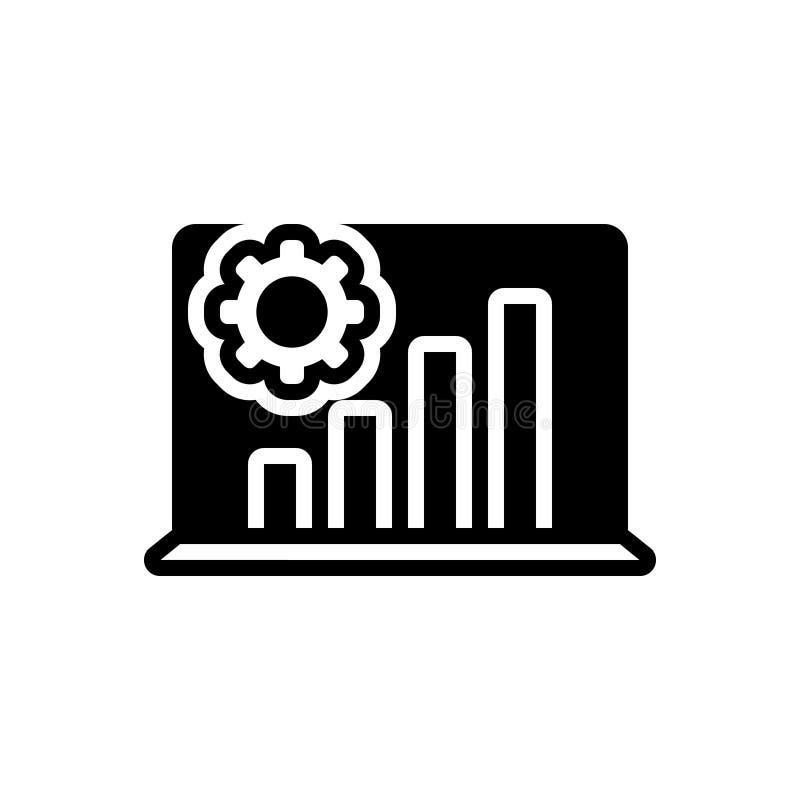 Zwart stevig pictogram voor Analyseproces, laptop en grafiek royalty-vrije illustratie