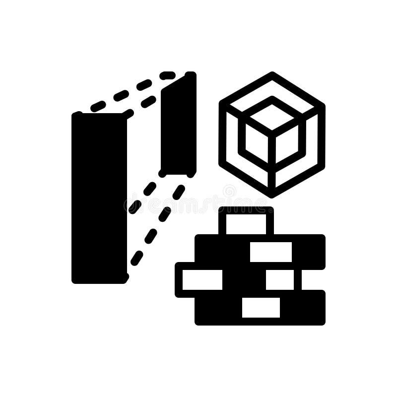 Zwart stevig pictogram voor Architectuur, huis en baksteen vector illustratie