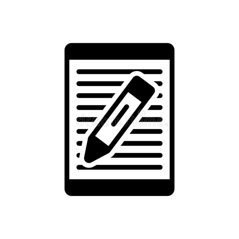 Zwart stevig pictogram voor Artikel, het schrijven en document stock illustratie
