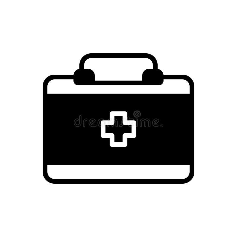 Zwart stevig pictogram voor Artsenzak, apotheek en veiligheid stock illustratie