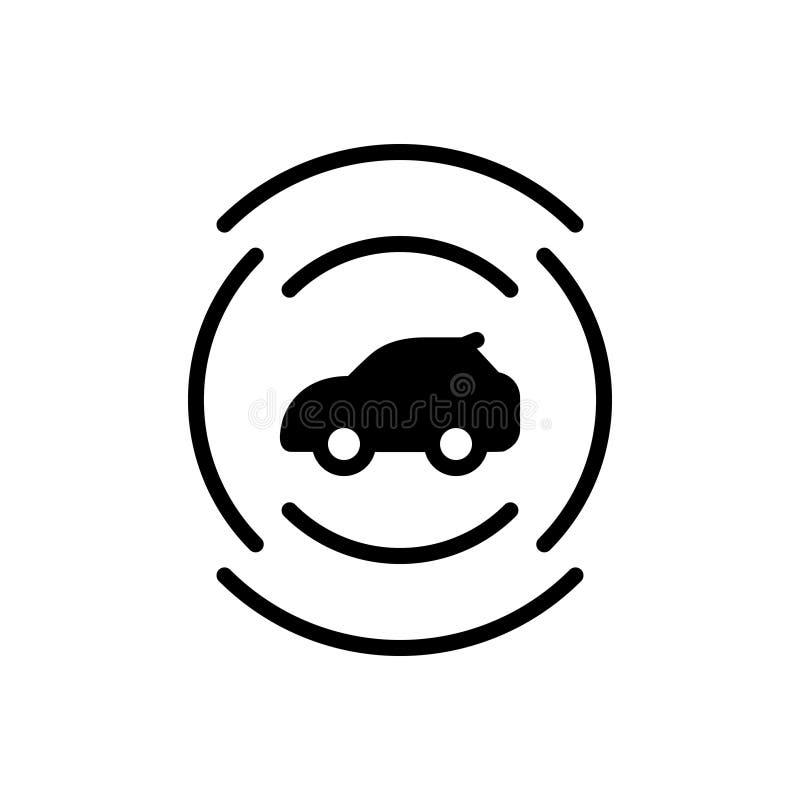 Zwart stevig pictogram voor Autosensor, autonoom en vervoer royalty-vrije illustratie