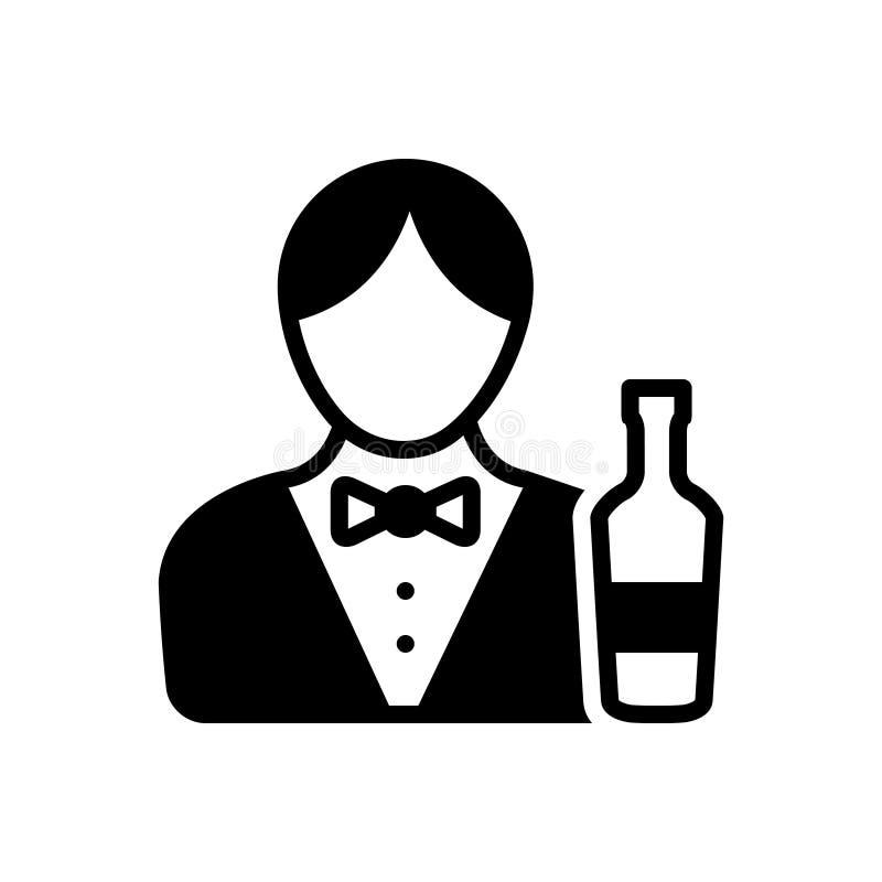 Zwart stevig pictogram voor Barman, mannetje en kelner royalty-vrije illustratie