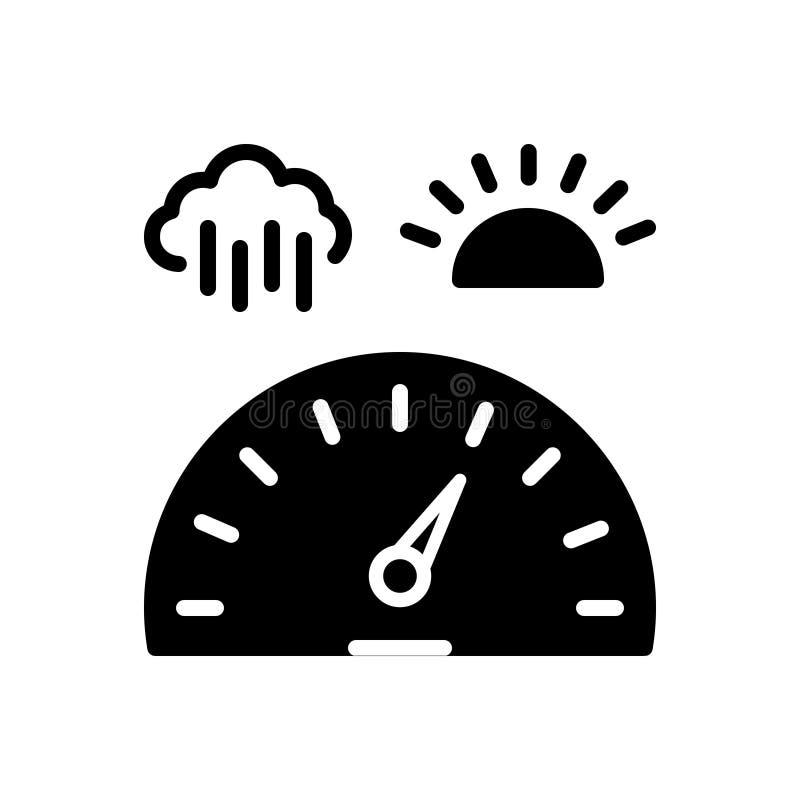 Zwart stevig pictogram voor Barometer, baric en technologie vector illustratie