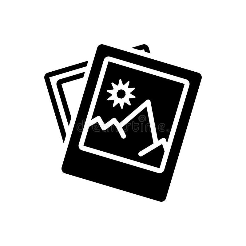 Zwart stevig pictogram voor Beeld, beeld en foto vector illustratie