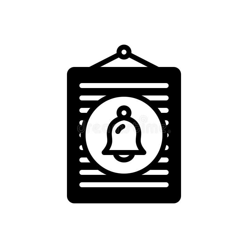 Zwart stevig pictogram voor Bericht, informatie en klok royalty-vrije illustratie