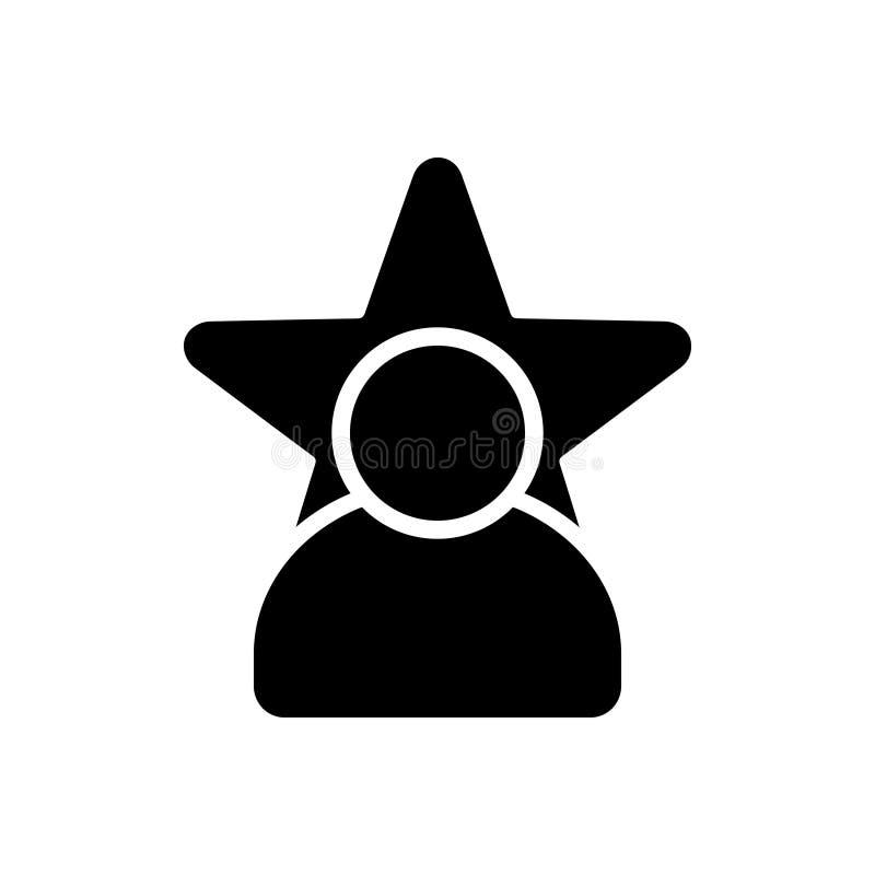 Zwart stevig pictogram voor Beroemdheid, magnaat en bekendheid royalty-vrije illustratie