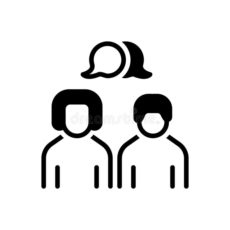 Zwart stevig pictogram voor Bespreking, gesprek en geklets royalty-vrije illustratie