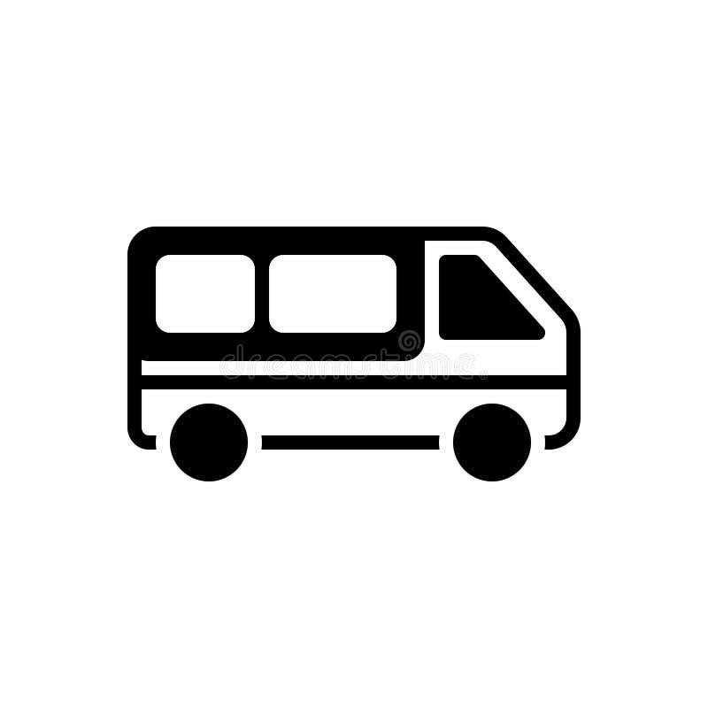 Zwart stevig pictogram voor Bestelwagen, vervoer en voertuig royalty-vrije illustratie