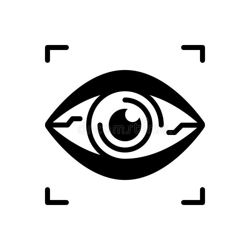 Zwart stevig pictogram voor Bionic Contact Lens, virtueel en netvlies vector illustratie
