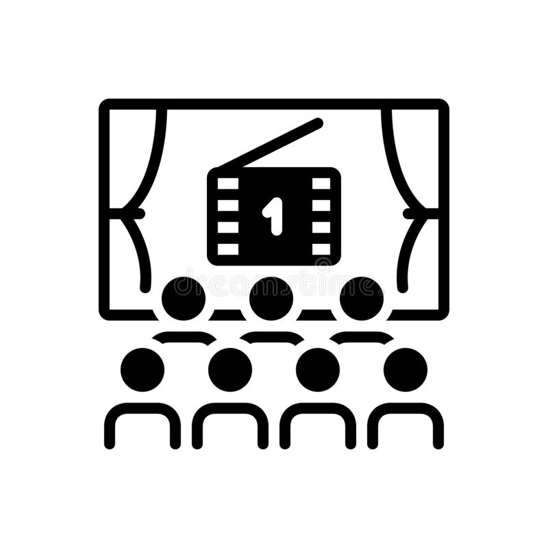 Zwart stevig pictogram voor Bioskoop, projector en theater royalty-vrije illustratie