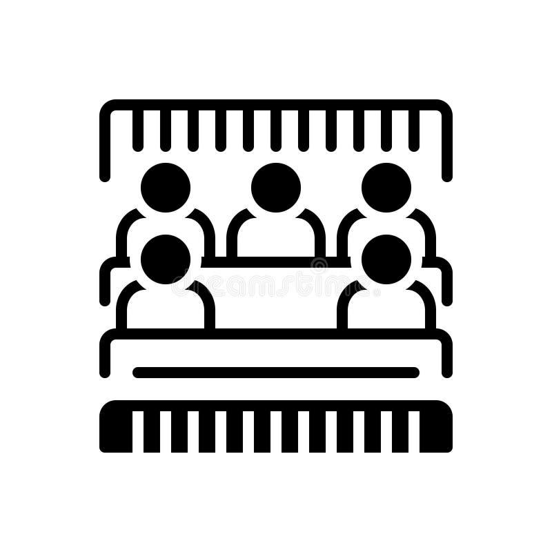 Zwart stevig pictogram voor Bleacher, mensen en menigte stock illustratie