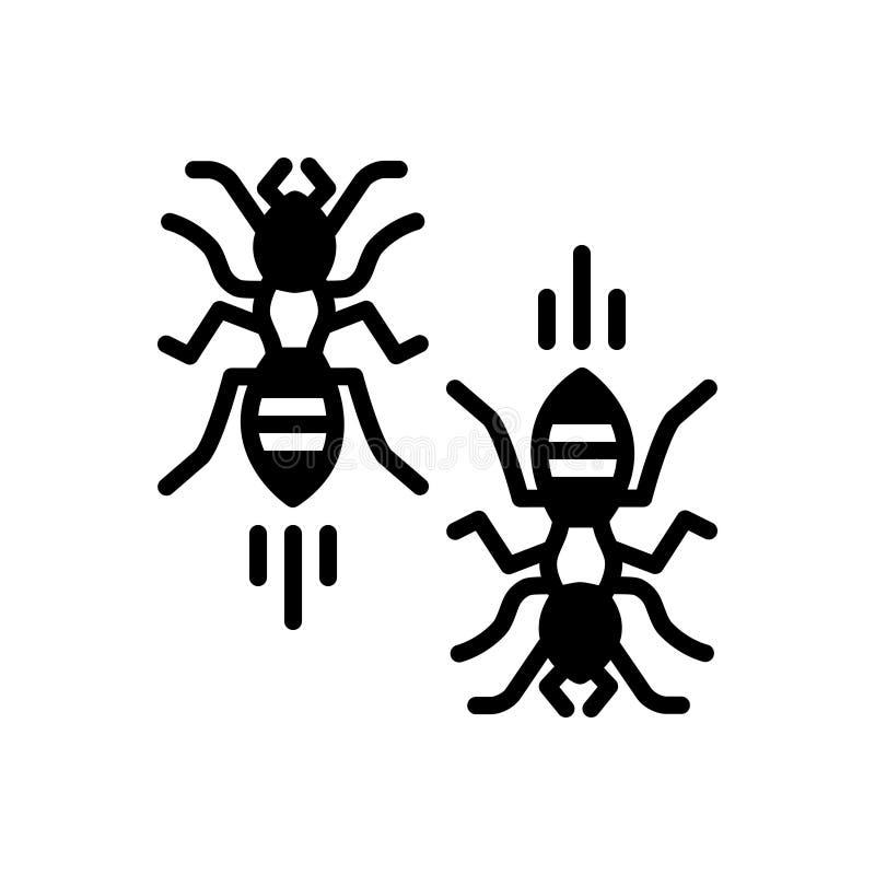 Zwart stevig pictogram voor Bloedarmoede, symptomen en zieken vector illustratie