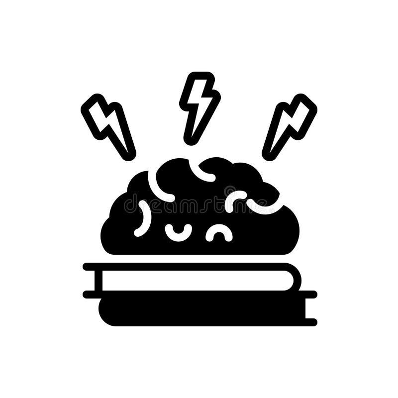 Zwart stevig pictogram voor Brain Training, neurologie en concept vector illustratie