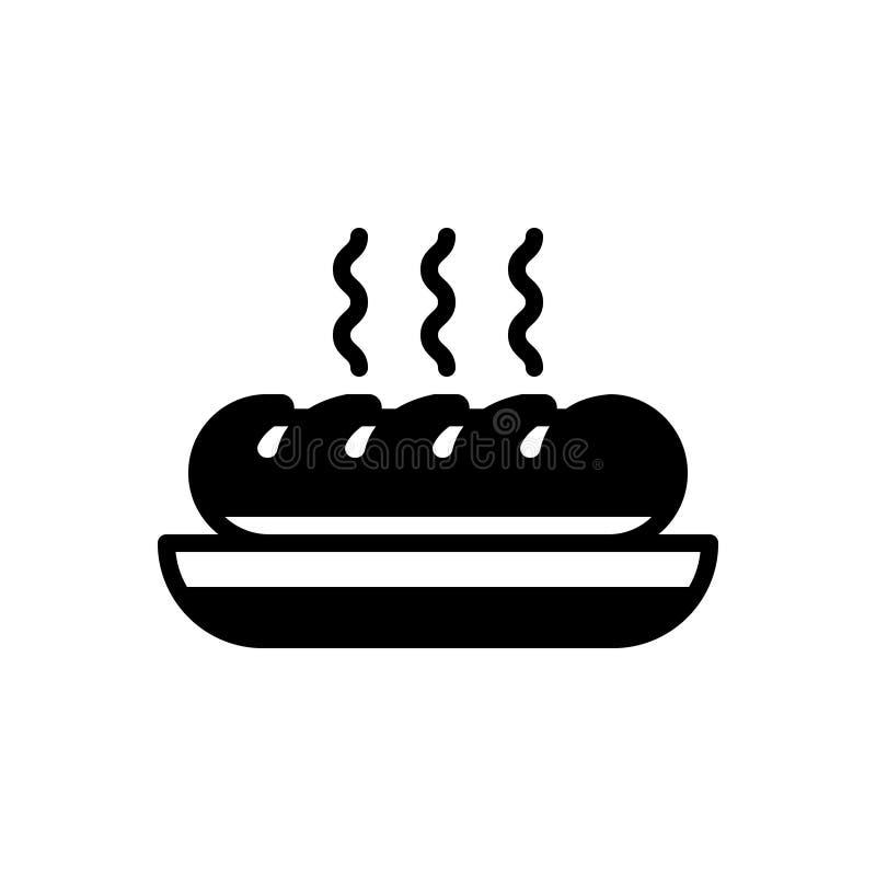 Zwart stevig pictogram voor Brood, voedsel en eetbaar vector illustratie