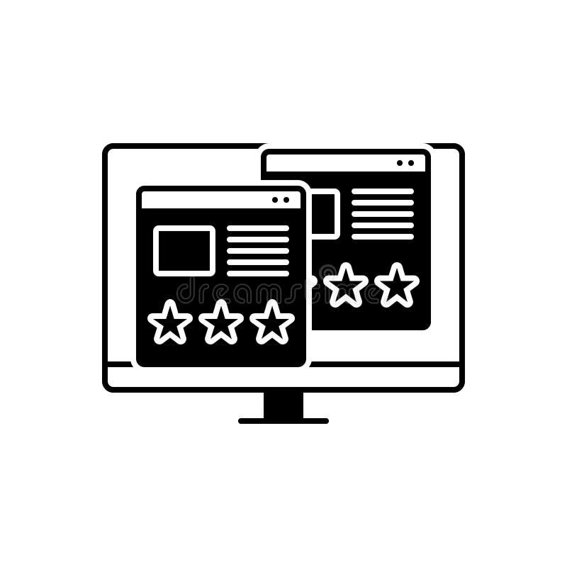 Zwart stevig pictogram voor Bruikbaarheidsevaluatie, beoordeling en evaluatie royalty-vrije illustratie