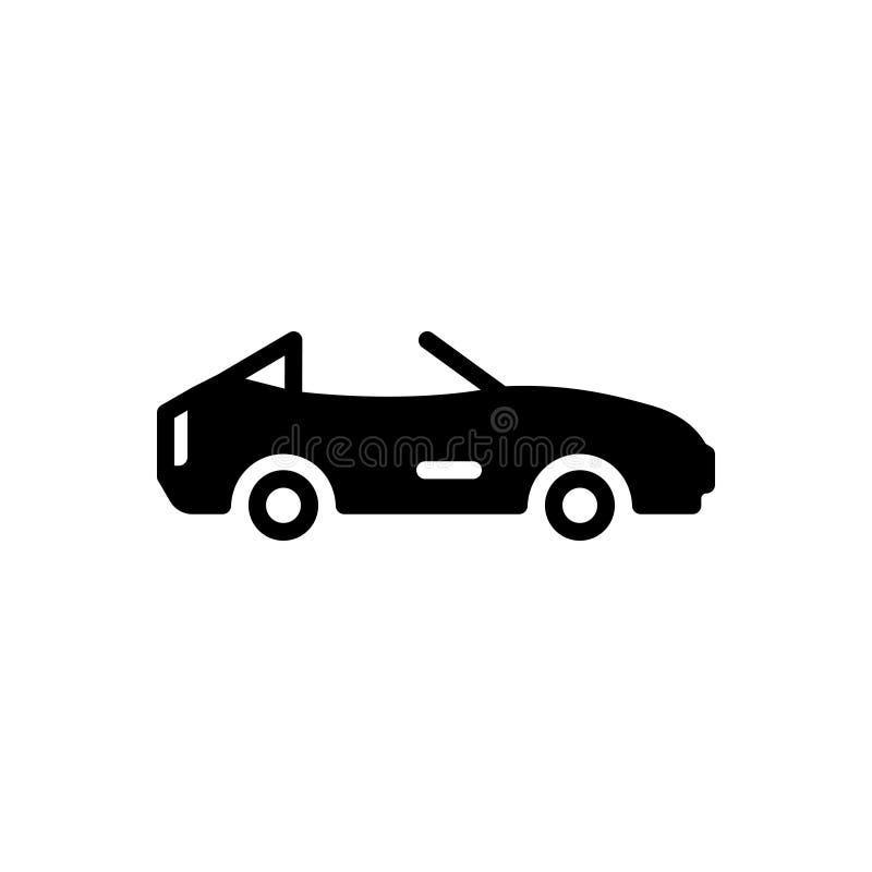 Zwart stevig pictogram voor Cabriolet, motor en auto royalty-vrije illustratie