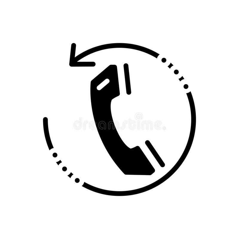 Zwart stevig pictogram voor Callback, mededeling en telefoon royalty-vrije illustratie