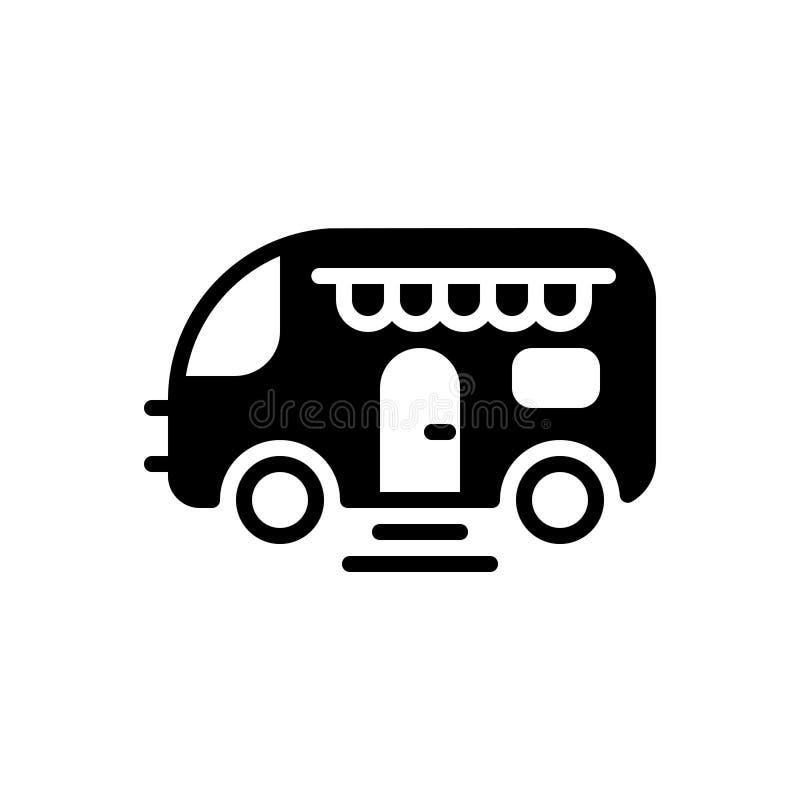 Zwart stevig pictogram voor Caravan, bestelwagen en reis royalty-vrije illustratie