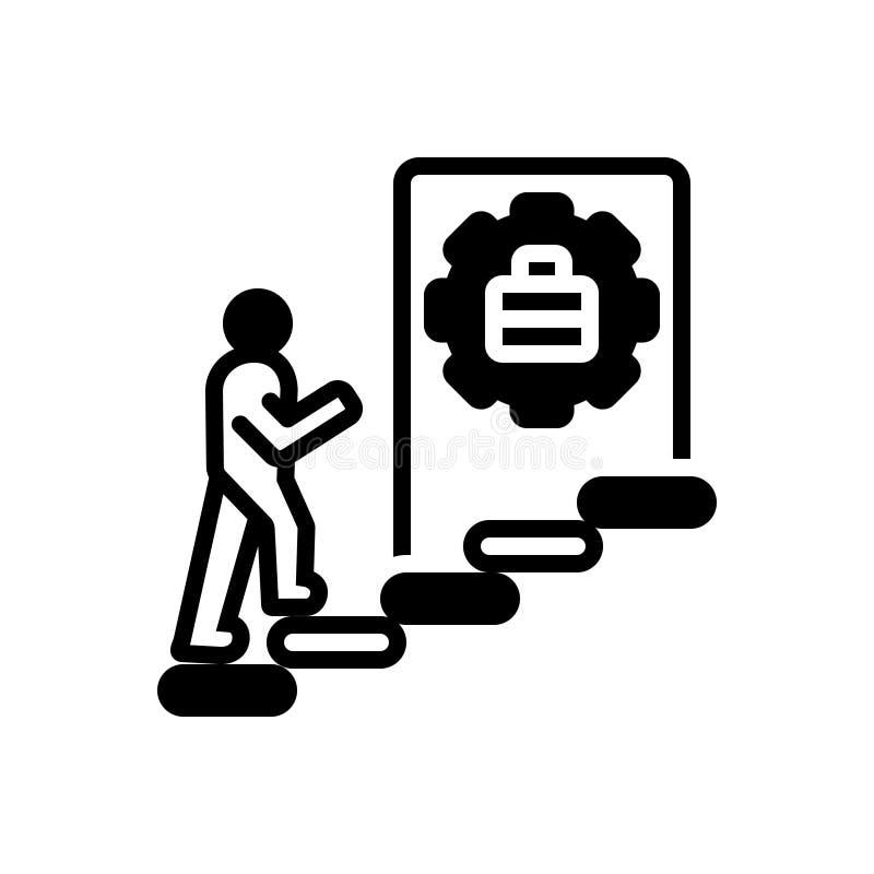 Zwart stevig pictogram voor Carrière, beroep en succes stock illustratie